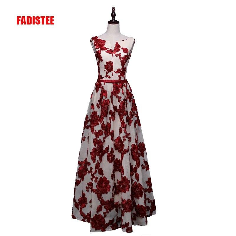 c1918655b0e FADISTEE 2018 Новое Элегантное праздничное платье Вечерние Платья с  цветочным принтом и длинными стильное платье Пром