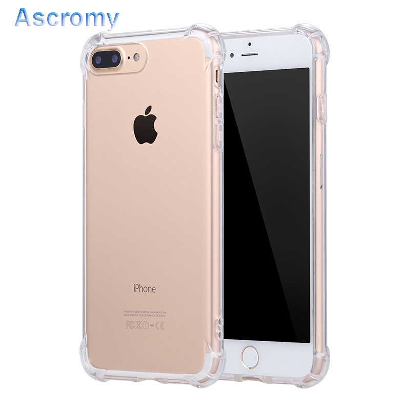 Ascromy Silicone Clear TPU Case For iPhone 5s SE Cover For iPhone 7 plus 8 6s X 6 5 Ultra Thin Crystal Back Protect Rubber Phone