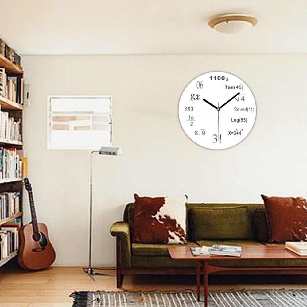 1x black white math class wall clock black chalkboard mathematics classroom gifts good gift for. Black Bedroom Furniture Sets. Home Design Ideas