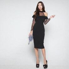 Negro de encaje de hombro funda túnica lápiz Hip vestido de las mujeres Sexy  elegante fiesta de oficina vestido de ropa de Dama f2917d203348
