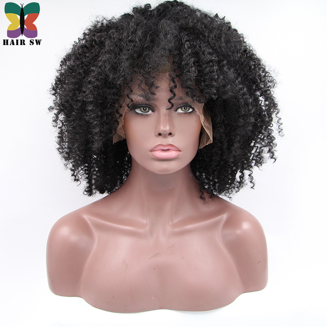 Hair Sw Medium Natural Looking Afro Kinky Curly Synthetic Lace Front