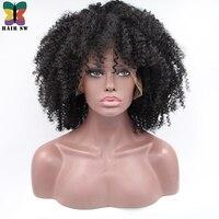 SW Średni Naturalny wygląd WŁOSÓW Afro Perwersyjne Kręcone Syntetyczne Koronki Przodu peruki z Dużym kędzierzawe włosy Glueless Peruki Dla Kobiet # 1B Afro