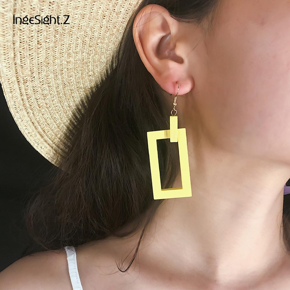 IngeSight Z Korean Double Layered Wooden Drop Earrings Statement Geometric Hollow Out Square Dangle Earrings for Women Jewelry in Drop Earrings from Jewelry Accessories
