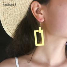 IngeSight.Z Korean Double Layered Wooden Drop Earrings Statement Geometric Hollow Out Square Dangle Earrings for Women Jewelry