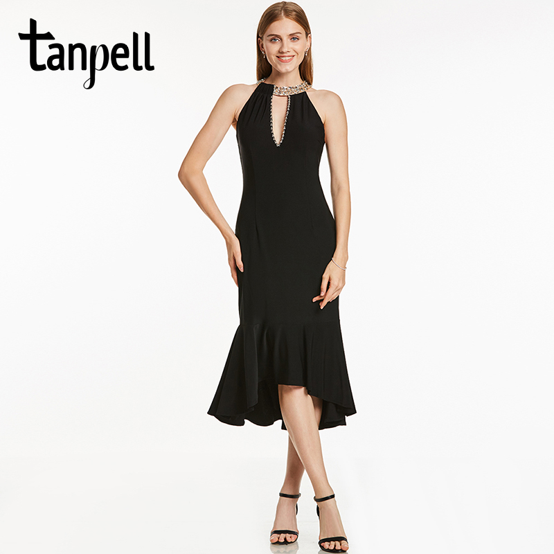 Tanpell halter neck short   cocktail     dress   black sleeveless tea length mermaid gown women bead backless homecoming   cocktail     dress