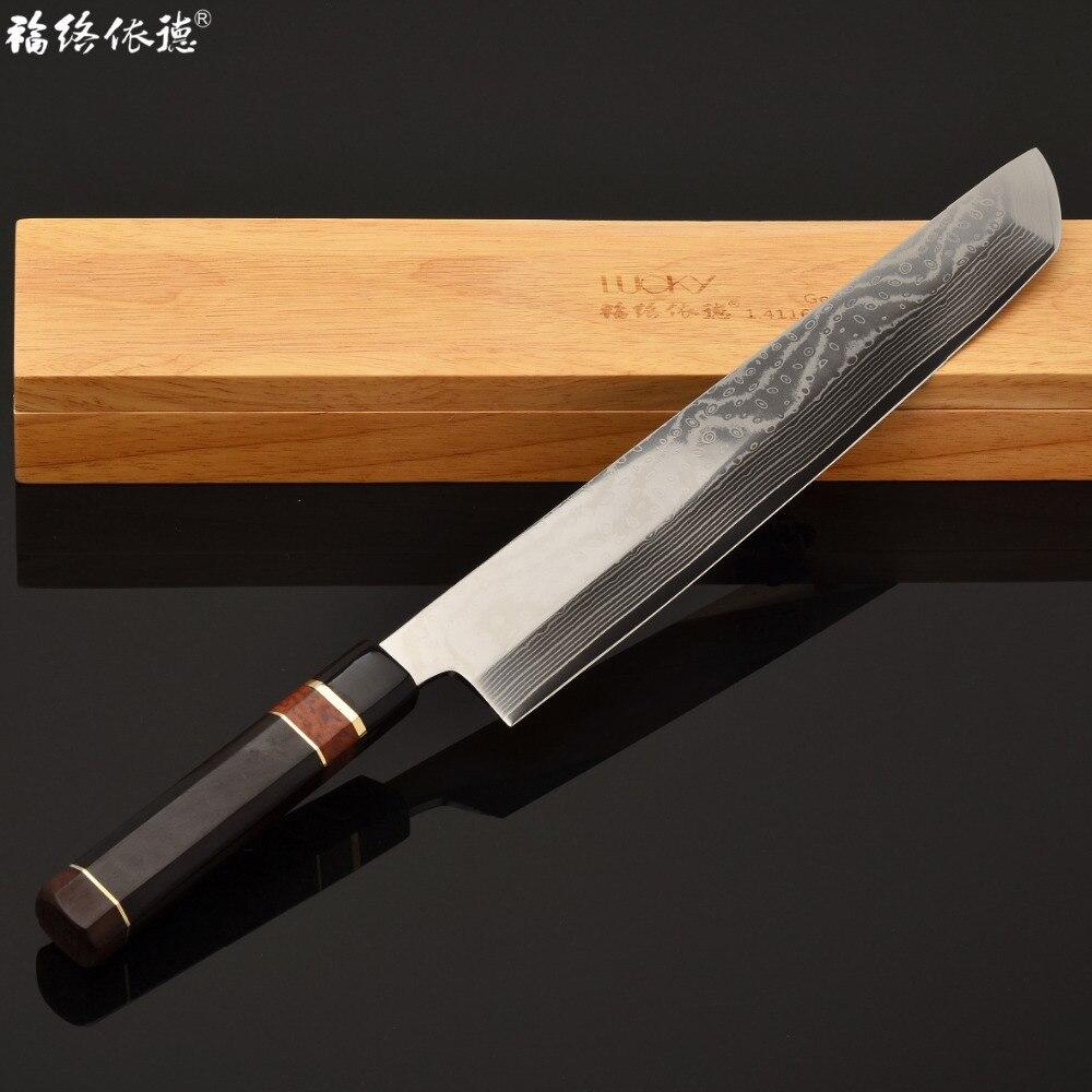 """12 """"საშიმის სამზარეულოს დანა VG10 დამასკელის ფოლადის იაპონიის Yanagiba თევზის ფილე დაჭრილი სამზარეულოს დანა დაშამის დანა 4.2G"""