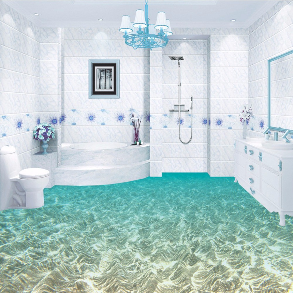 Free Shipping custom 3D sea underwater world floor mural waterproof non-slip PVC floor wallpaper mural 3d rock sea floor sticker