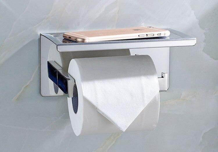 bathroom single tissue holder toilet paper holder tissue roll holder with shelf self adhesive. Black Bedroom Furniture Sets. Home Design Ideas