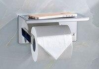 Bathroom Single Tissue Holder Toilet Paper Holder, Tissue Roll Holder with Shelf, 3M Adhesive 08 011