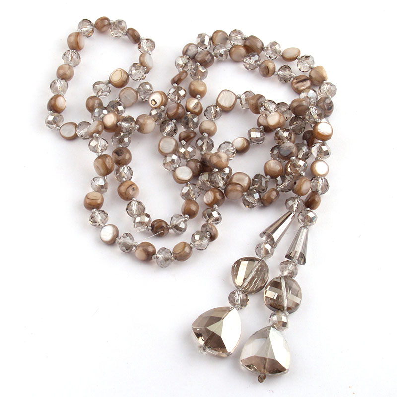 Fashion Bohemian Tribal Jewelry Long Knotted Crystal and Shell Pendant Necklace and For Women Belt