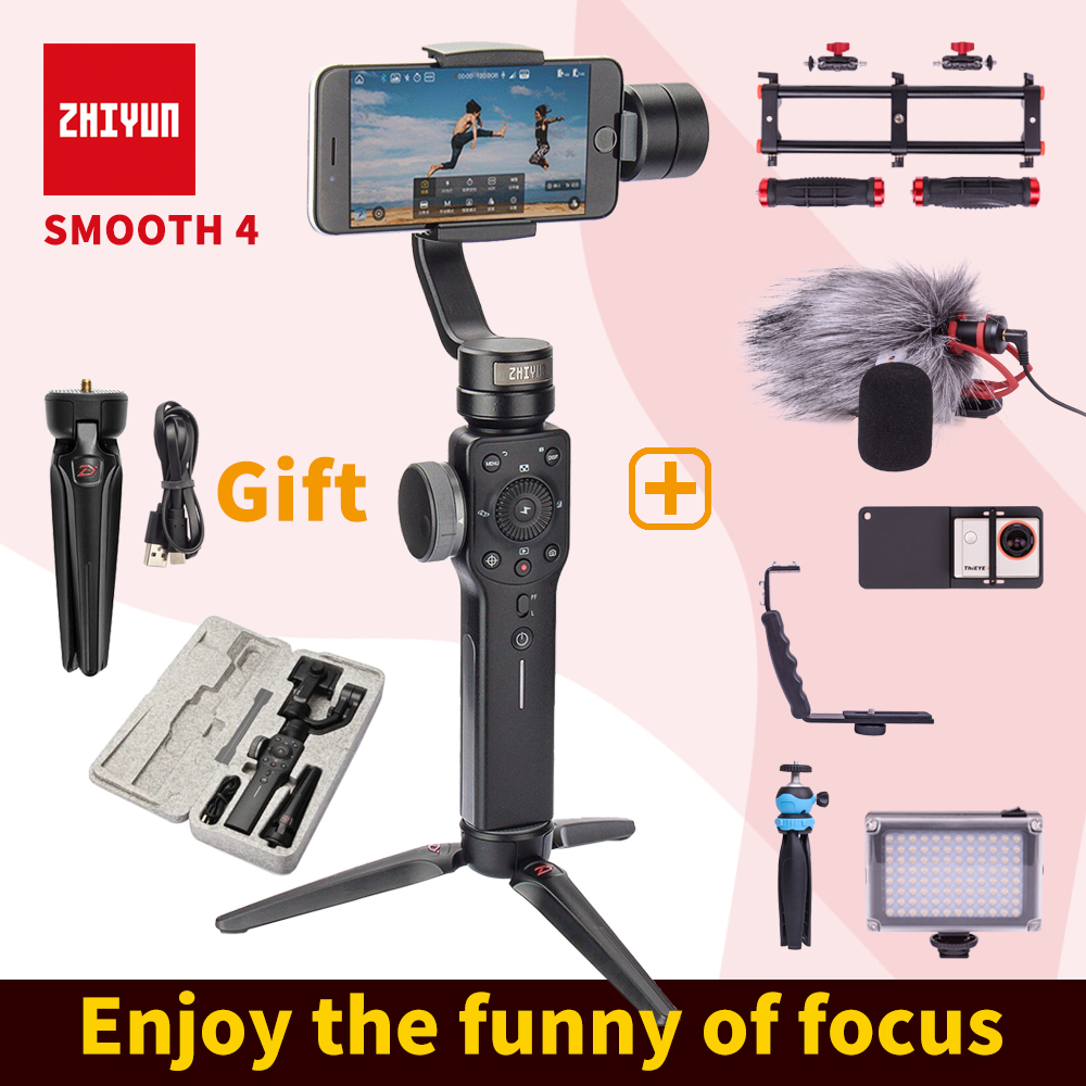 ZHIYUN smooth 4 smartphone Handheld 3 Axis Gimbal Portable Stabilizer for iPhone x Camera Gimbal VS Smooth Q charge cable zhiyun smooth q 3 axis handheld gimbal stabilizer for smartphone