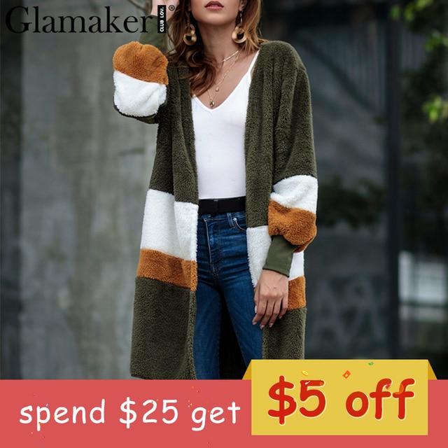 2b28b1babd7fa Glamaker Plush patchwork warm faux fur coat Winter fluffy teddy stripe long  cardigan Fake fur autumn