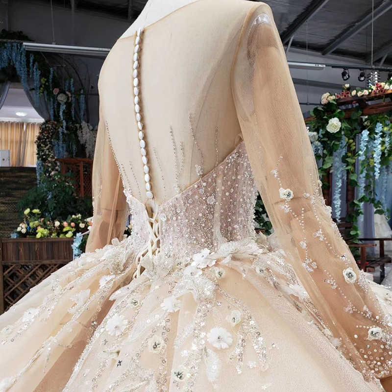 HTL502 Роскошный бежевый свадебный наряд с юбкой с круглым вырезом и длинными рукавами, тяжелые Свадебные платья ручной работы высокого класса vestido de casamento