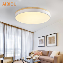 AIBIOU LED Ceiling Lights Round Ceiling Light For Living Room White Bedroom Wooden Lighting Fixture Kitchen Lamps trazos led round ceiling lights nordic style ceiling mounted lamp for bedroom dining living room wooden kitchen lighting fixture