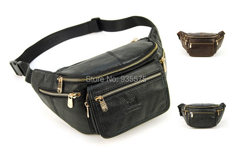Genuine Real Leather 6 Zip Pockets Classic Casual Walk Travel Fanny Waist Pack Bag Bum Hip
