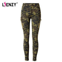 LIENZY Summer Women Camouflage Pant Multi Pocket High Waist Stretch Side Pocket Pilot Casual Women Skinny Jeans Bottom