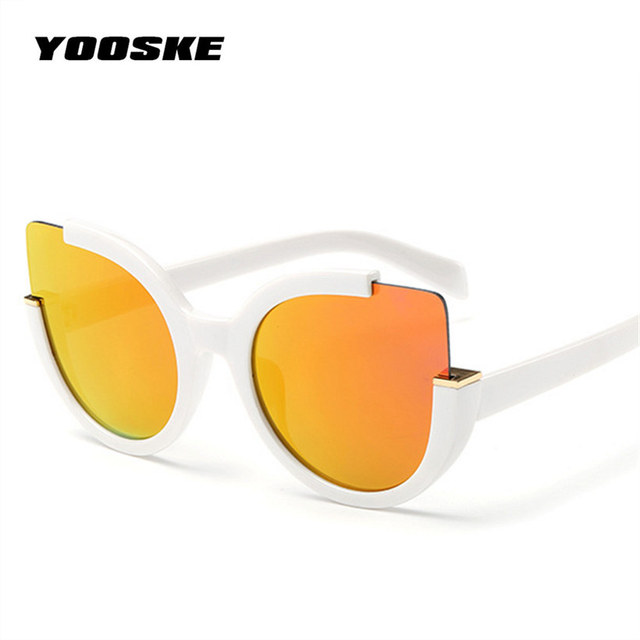 YOOSKE Sexy Cat Eye Sunglasses Women Brand Designer Mirror Sun Glasses Ladies Round Lens Shades for Women Eyewear UV400