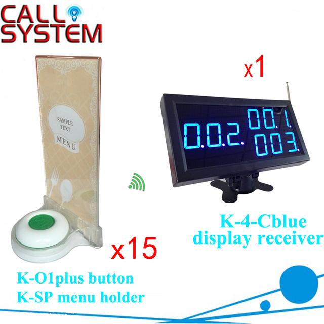 Casa de té sistema beeper localizador Inalámbrico 1 panel de la pantalla con 15 unidades de soporte de menú con zumbador de alarma 433.92 mhz
