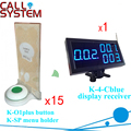 Tea house Wireless pager beeper system 1 display panel with 15 units menu holder with buzzer alarm 433.92mhz