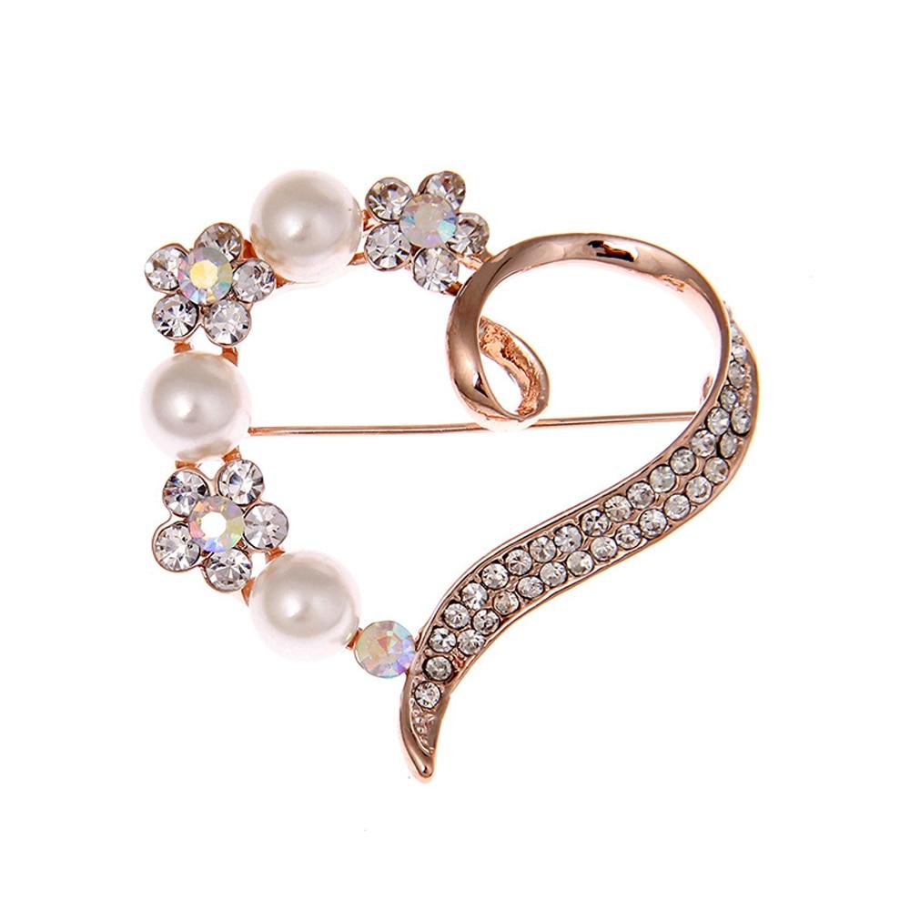 Romantic Heart Brooch CZ Crystals Rose Fake Elegant Lady Wedding Dress font b Jewelry b font