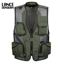 цена на mens christmas fishing equipment cardigan vests waistcoat plus size XXXL 5XL outerwear clothing photographer sleeveless jacket