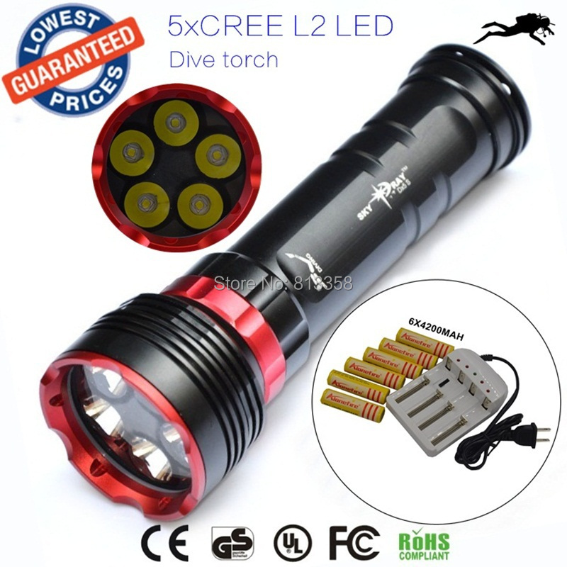 DX5S diving 8000lm 5xcree XM-L L2 LED scuba diving flashlight underwater torch dive light +18650 battery+charger portable waterproof 10000lm 7x xm l l2 led 18650 26650 battery diving scuba flashlight underwater light