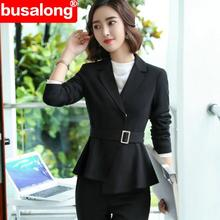 Black fashion Formal interview Pant suit Elegant Business office wear blazer and