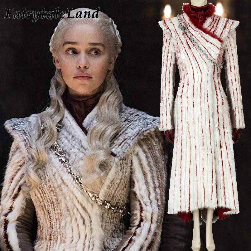 Game Of Thrones 8 Costume Cosplay Daenerys Targaryen Dress Carnival Halloween Dragon mother Outer Coat