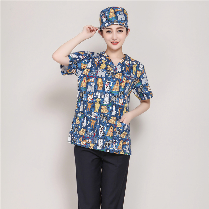 The operating clothes brush hand in the oral pharmacy doctor 39 s work clothes summer round collar Korean version in Women 39 s Sets from Women 39 s Clothing