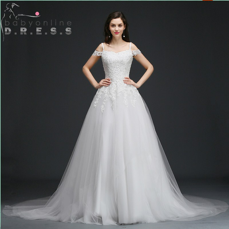 Elegant Lace Up Back A Line Wedding Dress Sexy Strapless Neck Sleeveless Dress for Brides Appliques Sequined Lace Wedding Dress