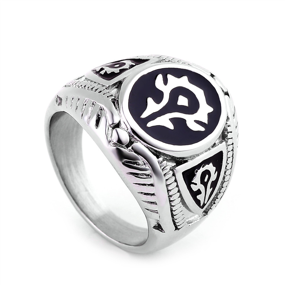 ZMZY Fashion Punk Vintage 316L Stainless Steel Men Rings Biker Jewelry Gothic World of Warcraft WOW Alliance Ring Game цена