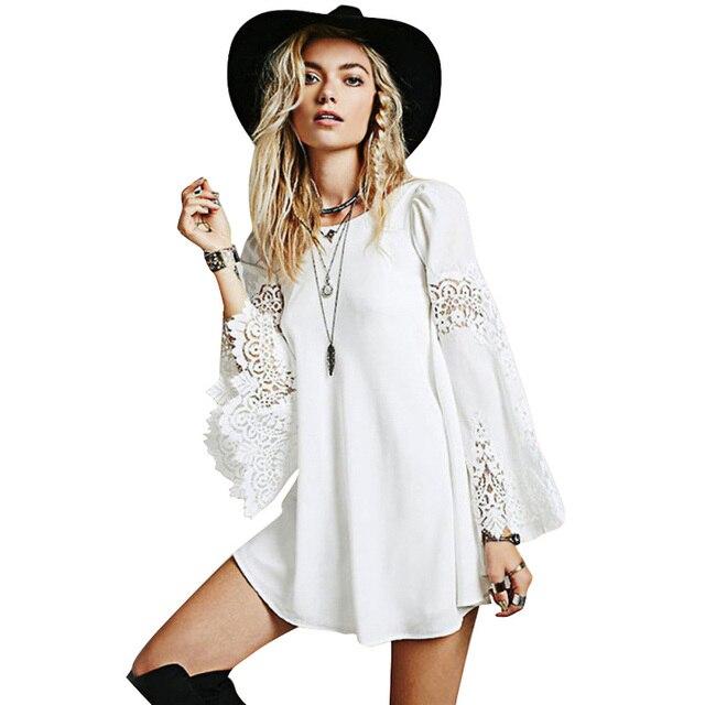 a0146ea8e84 Mujeres de encaje manga larga camisa Mini vestidos una línea Vestidos  cortos flojos blusa larga Tops