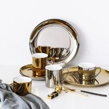 Tasse à café en céramique Simple, 8 /10 pouces, 1 pièce, tasse à eau en porcelaine, assiettes de Couple, verres plaqués or, assiette à Dessert