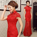 2016 Summer Style  Red Lace Tailing Mermaid Long Cheongsam Vestido De Noiva Chinese Traditional Dress Wedding Qipao YSB001