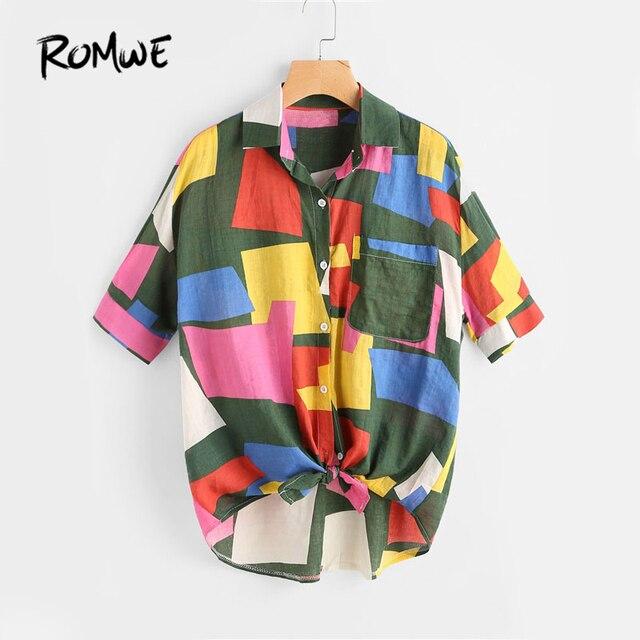 ROMWE Patchwork Verknotet Saum Hemd Multi Farbe Patchwork Revers ...