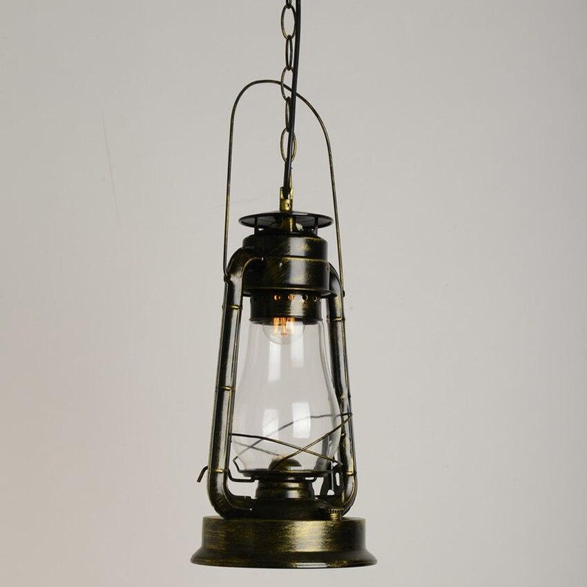 Nordic ретро керосин подвесной светильник бар лампа ресторан проходу творческий Кованого Железа стеклянный подвесной светильник старинные С…