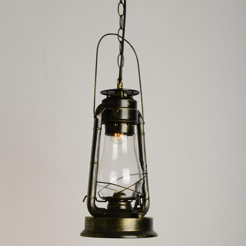 Nordic retro kerosene pendant light lamp bar restaurant aisle creative Wrought Iron glass hanging lamp vintage Barn Lantern lamp one light frosted glass antique rust hanging lantern