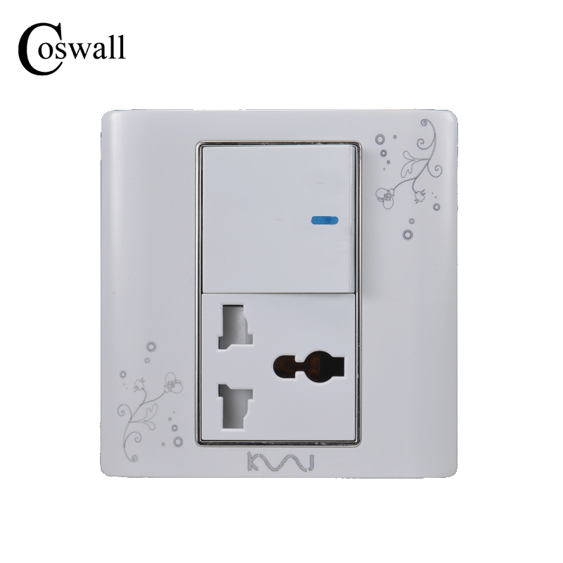 COSWALL Luxury Wall Electrical Socket Universal 3 Hole Power Outlet With 1 Gang 2 Way Switch C30-86 Series accor white five hole wall socket manufacturers 5 hole power outlet household switch socket