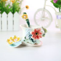 2018 New Flower Coffee Cups With Saucer Tea Milk Cup Set with spoon Creative Ceramic Drinkware European Style Bone China Gifts