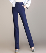 High waist elastic full length straight pants for women plus size autumn spring casual trousers female solid colour fmz0501