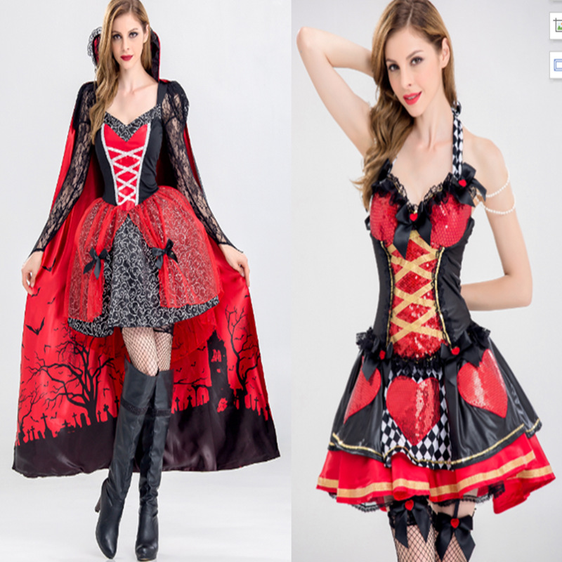 Alice's Adventures In Wonderland Cosplay Red Heart Queen and Witch Costume Princess Dresses for Adult Women Girl Halloween Dress