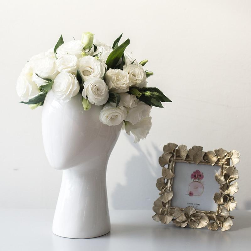 Человеческая голова фарфоровая ваза декоративная Аннотация керамическая ваза сухой Цветочная композиция фарфор искусственного цветочный...