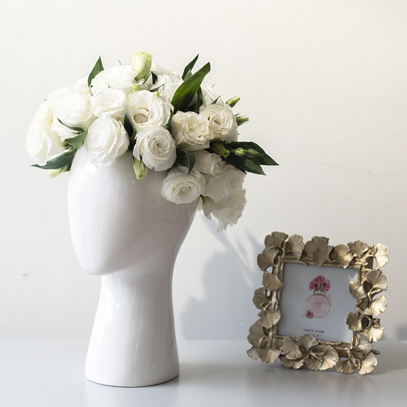 human head porcelain vase decorative abstract ceramic vase dry flower arrangement porcelain artificial flower pot wholesale
