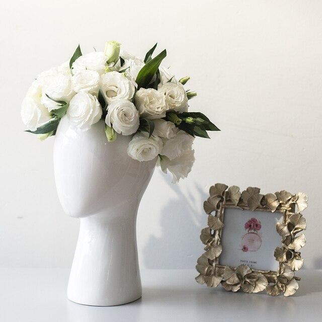 Human Head Porcelain Vase Decorative Abstract Ceramic Vase Dry