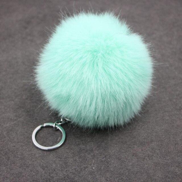 Bonito falso Pele De Coelho Pompom bola de SoftBall Carros Saco De Chaveiro Para As Mulheres Pom Pom Fofo Chaveiro Pingente Chaveiro Porte Clef charme