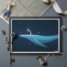 Wall Art Blue Whale Girl Fairy Tale Moon Poster And Print  Canvas Art Wall Art Painting Home Decor Without Frame майка борцовка print bar girl and moon