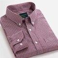 Langmeng 2016 Algodão 100% Venda Quente Primavera Outono Camisas de Vestido Homens de Flanela Xadrez de Manga comprida Camisas Casuais Slim Fit chemise homme