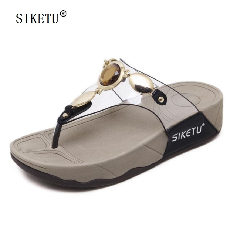 SIKETU Women Slippers Thong Sandals Flip Flops Summer Beach Shoes Woman Rhinestone Casual Comfortable Soft Platform Slides phyanic 2017 gladiator sandals gold silver shoes woman summer platform wedges glitters creepers casual women shoes phy3323