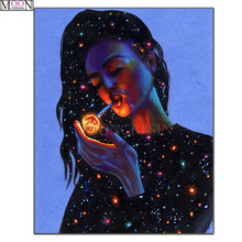 DIY  Diamond Painting Cross Abstract Painted Woman Smoking Embroidery Square Drill Mosaic Decoration Rhinestones