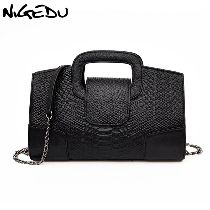 NIGEDU Brand Crocodile women handbag Luxury party ladies evening bags PU Leather Shoulder Bag women Chain Messenger Bag Clutches new arrived ladies pu leather retro handbag luxury women bag evening bag fashion black pearl chain shoulder bag party clutch bag